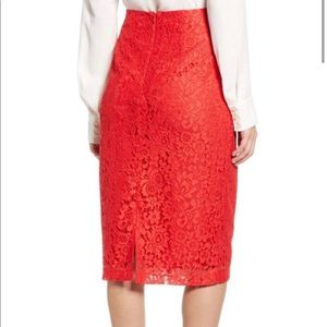 HALOGEN LACE PENCIL SKIRT RED HIBISCUS NWT